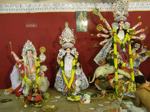 Goddess Durga with Ganesha and Goddess Lakshmi