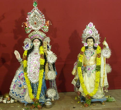 Goddess Saraswati and Karthikeyan
